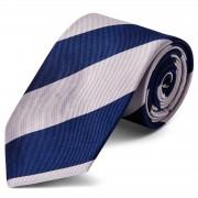 TND Basics Zilverkleurige & Marineblauwe Gestreepte Zijden Stropdas van 8 cm