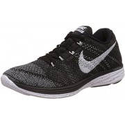 Nike Men's Flyknit Lunar3 Black, White, Mid Fog and Wolf Grey Running Shoes -8 UK/India (42.5 EU)(9 US)