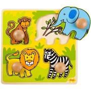 Bigjigs Beillesztős fa puzzle - Szafari