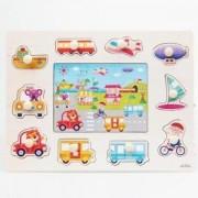 ELECTROPRIME® Transport Vehicle Transportation Shaped Wooden Puzzle Preschool Kids Toy