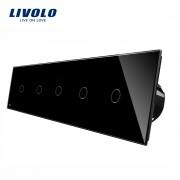 Intrerupator LIVOLO cu touch din sticla cu 5 intrerupatoare simple, negru