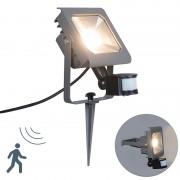 QAZQA Ground Flood Spotlight Radius 2 PIR 30W LED Dark Grey