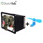 Combo of F2 Mobile Phone 3D Screen Magnifier + V8 Micro USB OTG Fan for OTG Supported Tablets and Mobiles