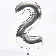Crazy Sutra two Number Foil Toy Balloon silver