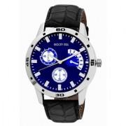 Golden Bell Men'S Black Blue Round Genuine Leather Strap Wrist Watch (442Gb)