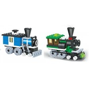 LITTLE BUILDER - Mini Train Blocks 2 Individual Building Brick Playsets with 127 pc Toy Bricks Included - 2 Separate Lego Compatible Brick Sets