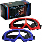 Rival Mask - Eye Safety Glasses for Kids - Perfect for Nerf Rival Games - 2-Pack Red/Blue Foam Gun and Blaster Safety Goggles with Anti Fog Protection - Have Fun, Play Hard, Be Safe