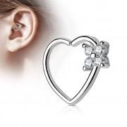 Piercing Street Piercing cartilage daith coeur quatre gemmes argenté