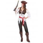 Disfarce pirata branco e castanho mulher - Taille: S