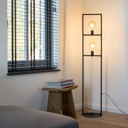 QAZQA Industrial floor lamp 2-light black - Simple Cage