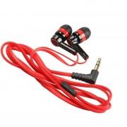 Rode Platte 3.5mm Aux Bedrade Oortelefoon In Ear Oordopjes Universal Headset voor Mobiele Telefoons Computers MP3 MP4 CD speler