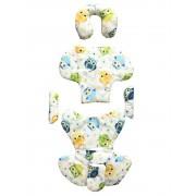 Set perne din bumbac pentru scaun auto copii si bebelusi Deluxe bufnite albastre