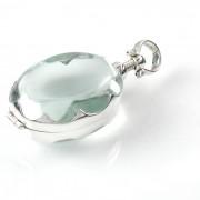 Zilveren Medaillon - Glas Ovaal voor Haarlokje of Foto