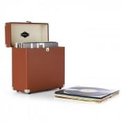Auna TTS6, barna, lemeztartó koffer, bőr, nosztalgikus, 30 LP lemez (TTS6-Vinylbox BR)