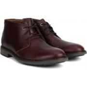 Clarks Unelott Mid Burgundy Leather Boots For Men(Burgundy)