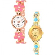 Varni Retail Pink Flower Belt And Gold Oval Dial Chai 2 Combo Watch Girls