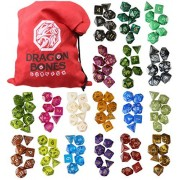 RPG Polyhedral Gaming Dice – Complete Sets of Seven Dice 18 Colors - D4 D6 D8 D10 D12 D20 & Percentile Dice – Great for Tabletop, Roleyplaying & DnD Games, Math & MTG – FREE Pouch/Bag