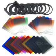 P serie 24 de color degradado cuadrado panchromatic filtros set - negro