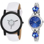 MACRON W-208 Couple Watch Combo Watch White Belt White Dial with Blue dial Silver watch 208