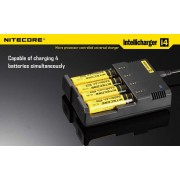 Nitecore I4 (4 Port) Fast & Intelligent Battery Charger for 18650, AA, AAA Batteries
