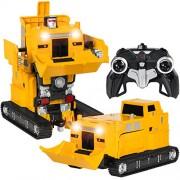 IndusBay 1:14 Scale 2.4 Ghz Big Size RC Remote Control Transformer Robot Excavator Bulldozer Truck, Deformation Shooting Bumblebee Transformers Push-Dozer Car
