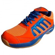 Port Men's Drift Orange Blue Pu Badminton Sports shoes