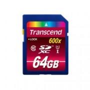 64GB SDXC, Transcend Ultimate 600x, Class 10, UHS-I, скорост на четене 90MB/s, скорост на запис 10MB/s