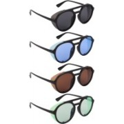 NuVew Round, Shield Sunglasses(Black, Blue, Brown, Green)