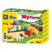 Joc constructie Mubi, Ferma + caruta, 33 piese Blocki