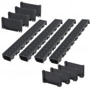 vidaXL Дренажни канали, пластмаса, 4 м