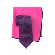 Ted Baker London Silk Elegant Paisley Tie Pocket Square Set PINK