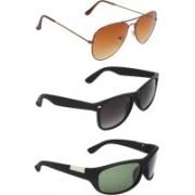 Zyaden Aviator, Wayfarer, Wrap-around Sunglasses(Brown, Black, Green)