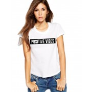 Tricou dama alb - Positive Vibes