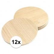 Merkloos 12x Glazen onderzetters van hout rond