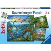 PUZZLE FARMECUL DINOZAURILOR 3x49 PIESE Ravensburger