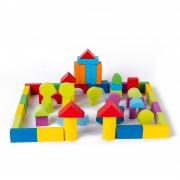Set cuburi constructie din lemn, colorate si distractive - 100 bucati