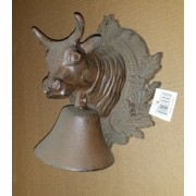 Cast iron 3-d cow head wall decor with bell