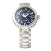 【78%OFF】ラウンドウォッチ デイト表示 ケース:ブルー ベルト:シルバー ファッション > 腕時計~~メンズ 腕時計