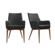 Lote de 2 sillones de diseño en poliéster gris antracita SHANA - Miliboo