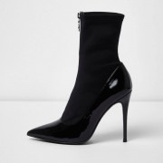 River Island Womens Black patent zip front sock boots