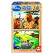 Educa Disney állatok fa puzzle, 2x50 darabos