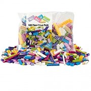 "Building Bricks - 500 Pc ""Big Bag of Bricks"" Bulk Pastel Friends-colored Blocks with 27 Roof Pieces"