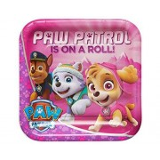 Nickelodeon American Greetings Paw Patrol Pink Square Plate (8 Count), 9