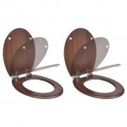 vidaXL Scaun toaletă capac cu închidere silențioasă 2 buc. maro MDF
