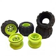 Lego Parts: Drome Racer Wheels Tire and Rim Bundle (4) Black 43.2mm x 28mm Balloon Tires (4) Lime 43.2mm x 28mm Wheel Rims