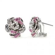 Rose Swarovski kristályos fülbevaló - Ezüst&pink színű