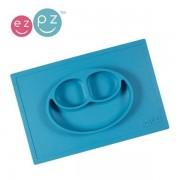 EZPZ Silikonowy talerzyk dla dzieci z podkładką 2w1 Happy Mat niebieski,