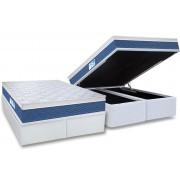 Conjunto Cama Box Baú - Colchão Probel de Molas Prolastic ProDormir Blue Euro Pillow + Cama Box Baú Courino Bianco - Conjunto Box Queen Size - 158 x 198