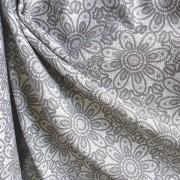 HALAS, csipkemintás lakástextil, dekorvászon, szürke. 140 cm és 280 cm széles