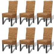 vidaXL Dining Chairs 6 pcs Abaca Brown